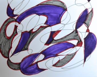 Blank Greeting Card: Mixed Grays Purple Red Themed Hand Drawn Pen and Ink