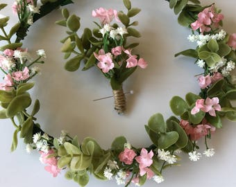 Pink And White Flower Crown, Perfect For Weddings, Engagement Photos, Prom And More!