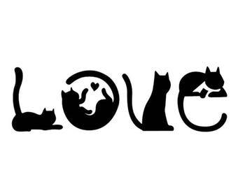 Love Car Decal - Cat Silhouette