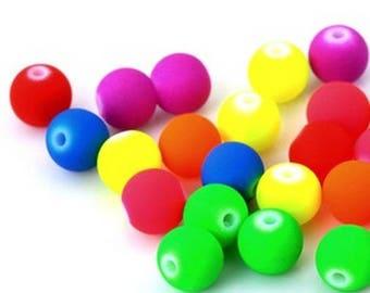 Wholesale lot of 500 beads 8mm neon acrylic