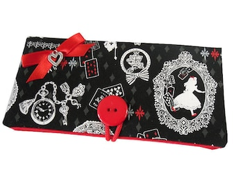 Cases sunglasses pouch case Alice the Wonderland ° ° fabric black and Red charm