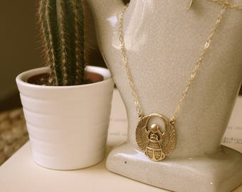 GOLD BEETLE NECKLACE