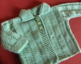 vest with collar Peter Pan, green Mint, straight, cotton base, 6 months