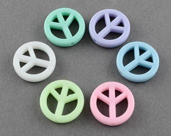 set of 5 beads peace and love furnished 16 mm
