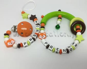 Mandarin personalized rattle and pacifier clip