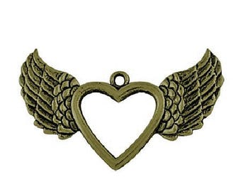 bronze color Angel Wings heart charm