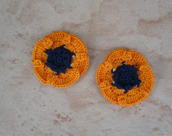 set of 2 anemones orange crochet