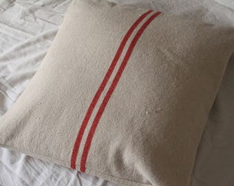 Old red stripes linen pillow cover