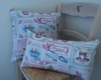 Set of 2 cushions removable cloth Cupcakes