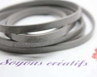 Silver leather strap 1 m cut 5mm - Creation jewels - P4105.