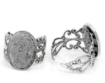 x 2 Supports ring antique silver adjustable cabochon 18x13mm - SC27052-
