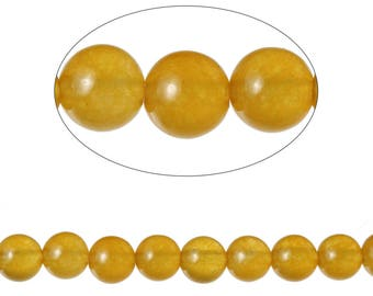 Set 90 Agate beads round yellow 4mm - SC71589.