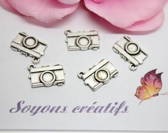 10 Charms charms camera silver 19x13mm