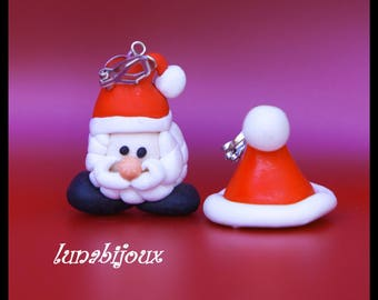 polymer clay earring Santa & Hat Christmas jewelry gift