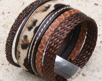 Cuff Bracelet leather imitation leopard, brown tones, silver plated magnetic clasp