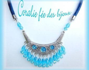 Necklace ethnic bib, glitter and Crystal shades blue and Navy beads