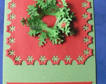 mod red and green traditional Christmas Wreath card 2