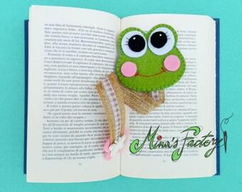 segnalibro  con simpatica ranocchia in feltro Bookmark  with nice frog in felt