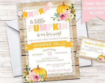 Pumpkin Baby Shower Invitation Invite Girl Pink Rustic Country Digital 5x7 Floral Watercolor Wood Lace