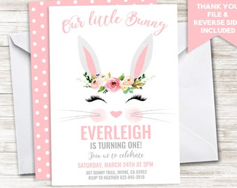 Bunny Birthday Invite Invitation Digital Kids GIrls ANY AGE Floral Watercolor Easter themed Party