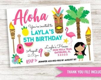 Aloha Girls Invite Invitation Digital 7x5 Birthday Party Hawaiian Luau Kids ANY AGE