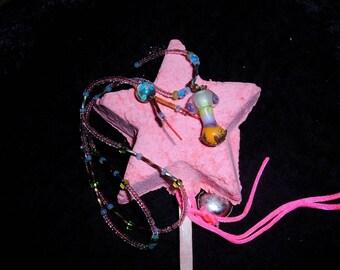 Hippy Happy mushroom glass beaded necklace