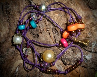MEKELE necklace beads glass and wood on purple waxed cotton cord