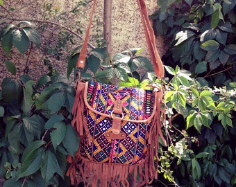 Satchel bag Indian, suede and colorful embroidery