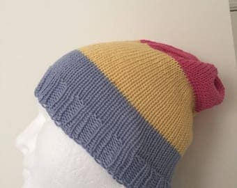 Pansexual Pride Slouchy Beanie Hat