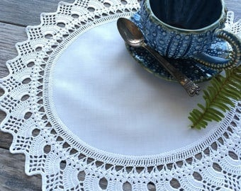 Large Handmade Vintage Crocheted Lace Doily