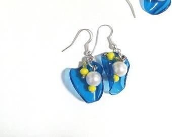 blue white yellow/earrings earrings blue white yellow