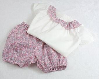 Pyjama d'été fille : bloomer et top à manches courtes et volant Liberty 100% batiste de lawn Eloïse