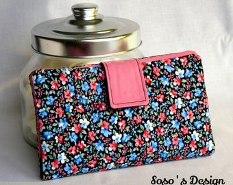 Portecarte Portechequier, purse, wallet an accessory 4 in 1 black, blue and pink