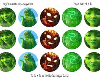 Moana Te Fiti Printable Bottle Cap Images- 1 Inch - Moana Tefiti Bottlecap - Moana Party Supplies / Prints - Instant Download