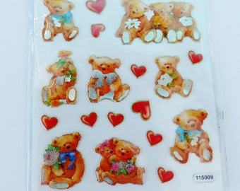 sheet of 22 stickers Teddy bear and heart in relief
