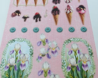 A4 image precut to assemble for a 3-d flower Strawberry Chocolate vanilla ice cream cone