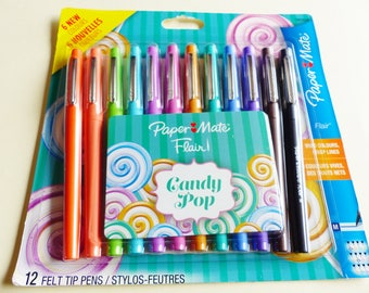 12 pens markers paper mate flair M Candy Pop point average coloring drawing writing brightly features crisp papermate