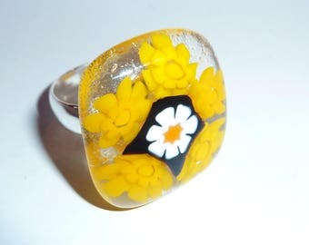 "Ring fused glass, unique creation ""Bee"""