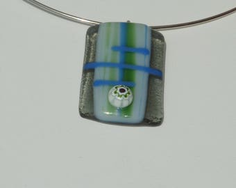"""Vodka"" necklace in fused glass, unique creation"