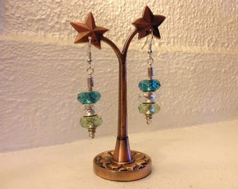 Trio of iridescent beads earrings