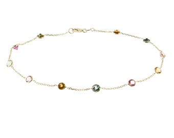14k Yellow Gold Station Anklet With Tourmaline Gemstones By the Yard