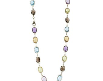 14K Yellow Gold Station Necklace With Cushion Cut Gemstones 18 Inches