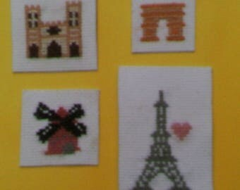 Set of 4 magnets - monuments of Paris