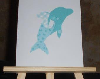 Dolphin in iris folding card