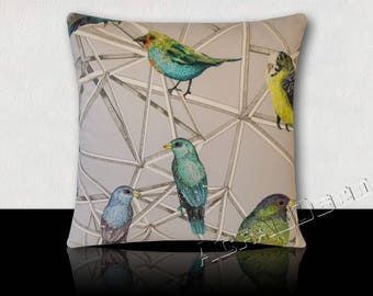 Square cushion Designer Aviary of exotic birds to Color-Turquoise/green/yellow/black feathers