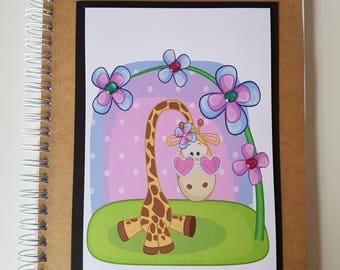 A5, Notebook, Giraffe, Flower Notes, Notes, Journal