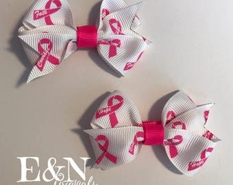 Breast cancer pig tail bows - pig tail bows - breast cancer bows - breast cancer hair bows - cancer bows - breast cancer gifts