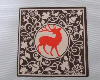 Paper towel / table decoration / patchwork / Christmas deer Medallion