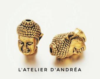 Set of 4 beautiful Buddha beads brass gold plated / silver 13 x 9 x 10 mm