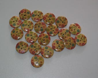 Set of 10 round buttons 2 holes look wood